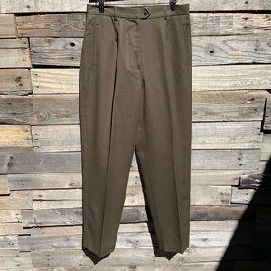 🌻VINTAGE Jonathan Logan High Rise Olive Green Wool Secretary Geek Dress Pants